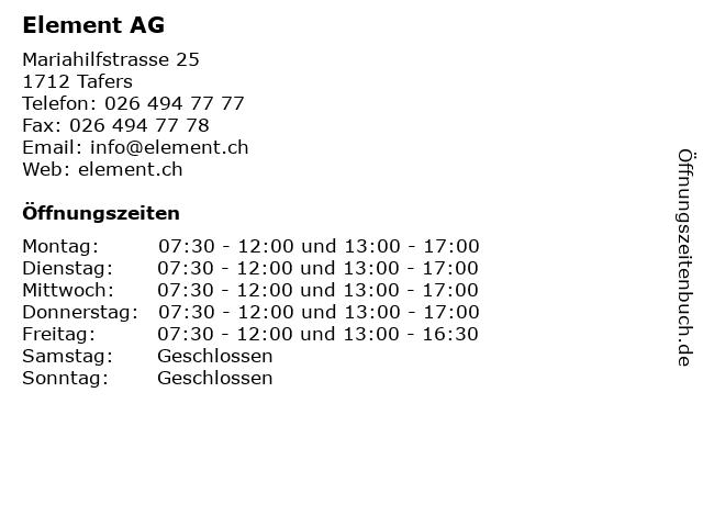 Element AG in Tafers: Adresse und Öffnungszeiten