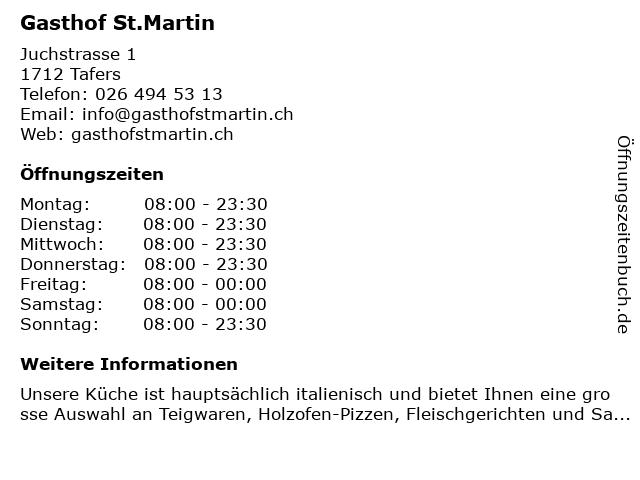 Gasthof St.Martin Tafers in Tafers: Adresse und Öffnungszeiten
