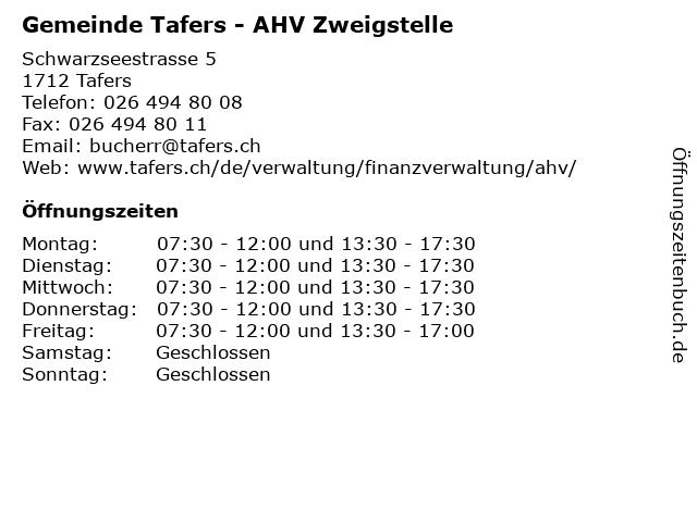 Gemeinde Tafers - AHV Zweigstelle in Tafers: Adresse und Öffnungszeiten