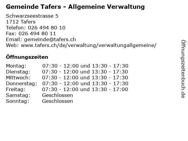 Gemeinde Tafers - Allgemeine Verwaltung in Tafers: Adresse und Öffnungszeiten