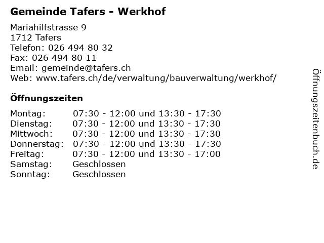 Gemeinde Tafers - Werkhof in Tafers: Adresse und Öffnungszeiten