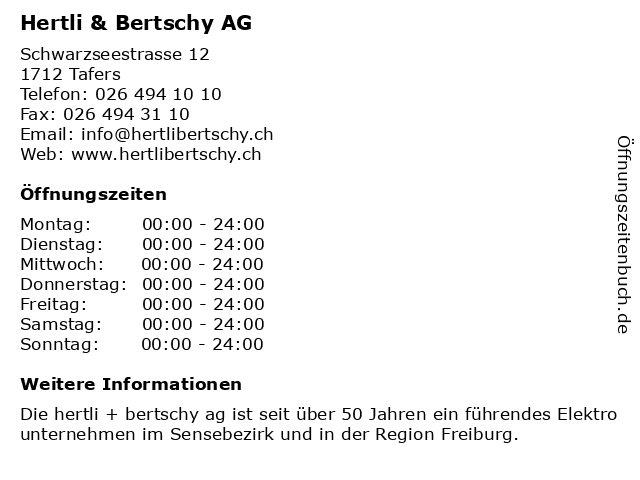 Hertli & Bertschy AG in Tafers: Adresse und Öffnungszeiten