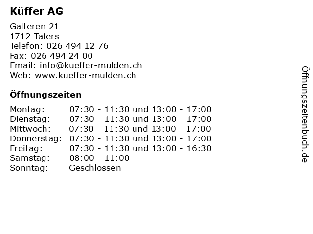 Küffer AG in Tafers: Adresse und Öffnungszeiten