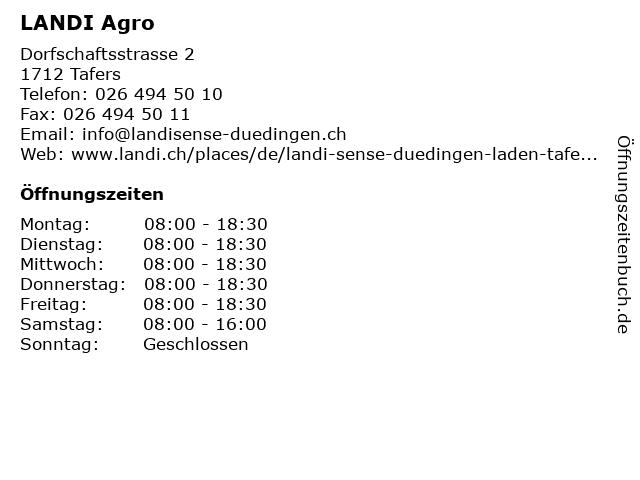 LANDI Agro in Tafers: Adresse und Öffnungszeiten