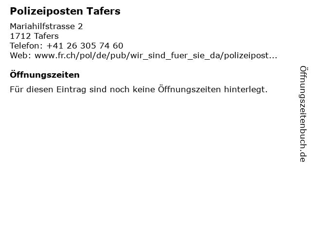 Polizeiposten Tafers in Tafers: Adresse und Öffnungszeiten