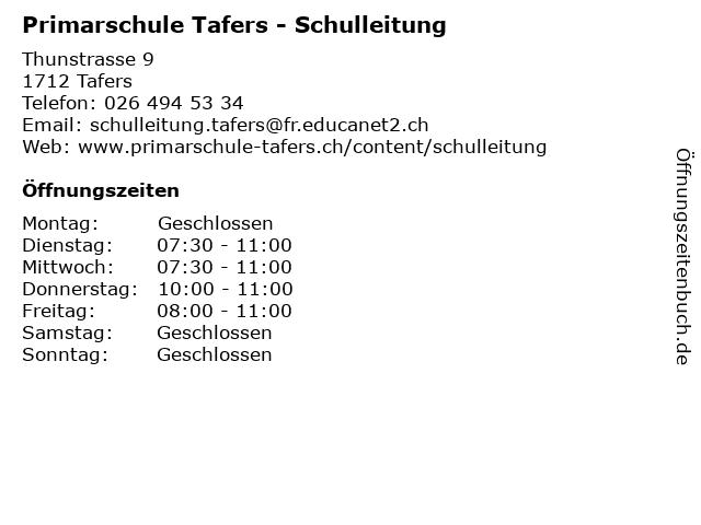 Primarschule Tafers - Schulleitung in Tafers: Adresse und Öffnungszeiten