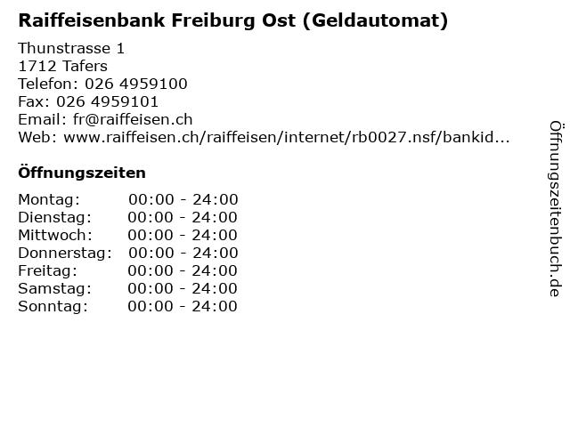 Raiffeisenbank Freiburg Ost (Geldautomat) in Tafers: Adresse und Öffnungszeiten