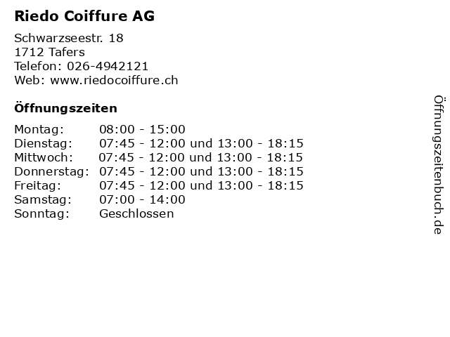Riedo Coiffure AG in Tafers: Adresse und Öffnungszeiten