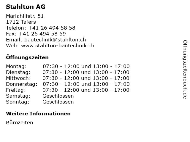 Stahlton AG in Tafers: Adresse und Öffnungszeiten