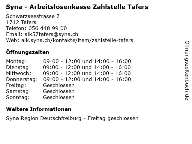 Syna - Arbeitslosenkasse Zahlstelle Tafers in Tafers: Adresse und Öffnungszeiten