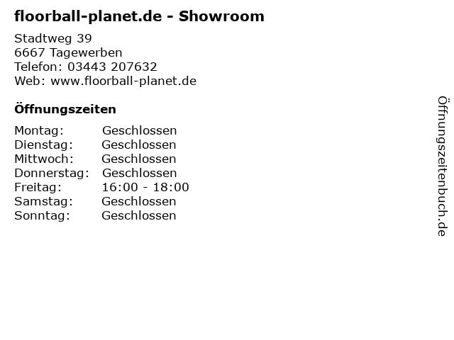 floorball-planet.de - Showroom in Tagewerben: Adresse und Öffnungszeiten