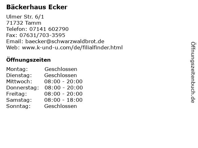 Bäckerhaus Ecker in Tamm: Adresse und Öffnungszeiten