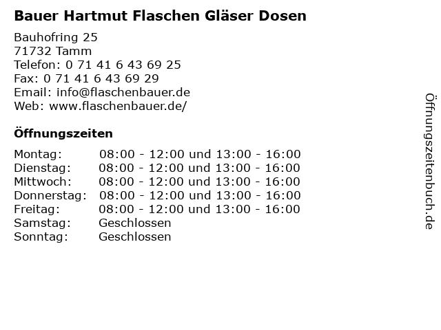 ᐅ öffnungszeiten Bauer Hartmut Flaschen Gläser Dosen Bauhofring