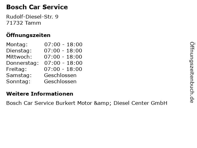 Bosch Car Service in Tamm: Adresse und Öffnungszeiten