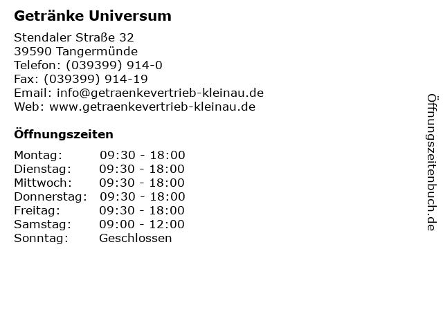 Getränke Universum - Deutsche Post Filiale in Tangermünde: Adresse und Öffnungszeiten