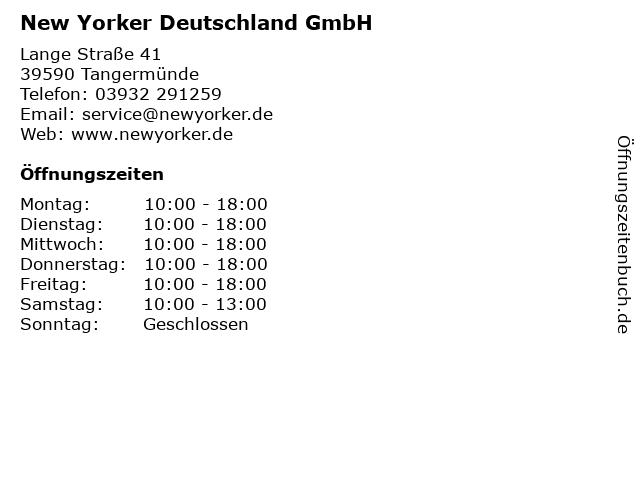New Yorker Deutschland GmbH in Tangermünde: Adresse und Öffnungszeiten