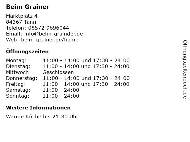 Beim Grainer in Tann: Adresse und Öffnungszeiten
