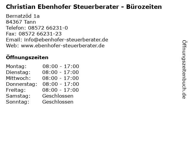 Christian Ebenhofer Steuerberater - Bürozeiten in Tann: Adresse und Öffnungszeiten