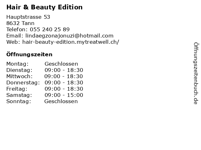 Hair & Beauty Edition in Tann: Adresse und Öffnungszeiten
