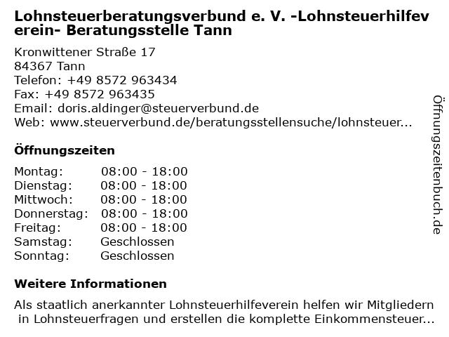 Lohnsteuerberatungsverbund e. V. -Lohnsteuerhilfeverein- Beratungsstelle Tann in Tann: Adresse und Öffnungszeiten