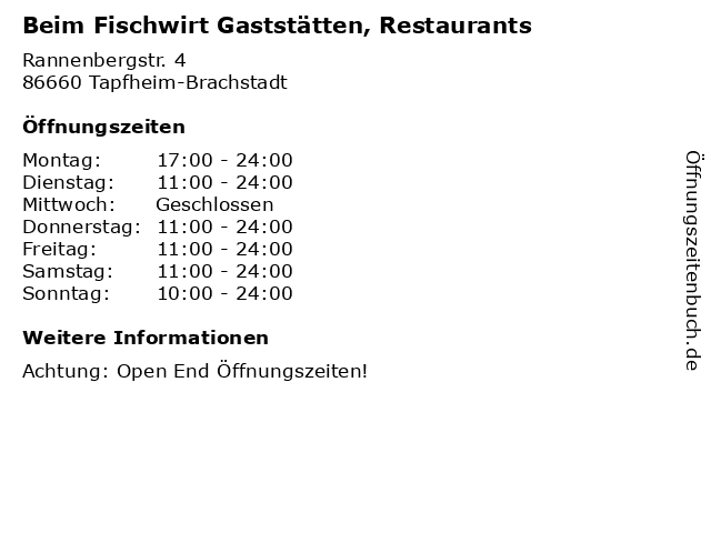 Beim Fischwirt Gaststätten, Restaurants in Tapfheim-Brachstadt: Adresse und Öffnungszeiten