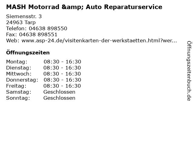 MASH Motorrad & Auto Reparaturservice in Tarp: Adresse und Öffnungszeiten
