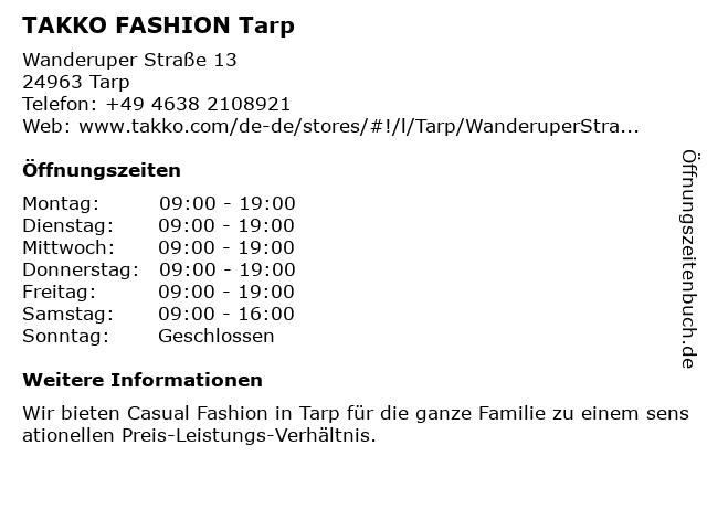 Takko Fashion in Tarp: Adresse und Öffnungszeiten