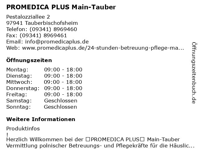 PROMEDICA PLUS Main-Tauber in Tauberbischofsheim: Adresse und Öffnungszeiten