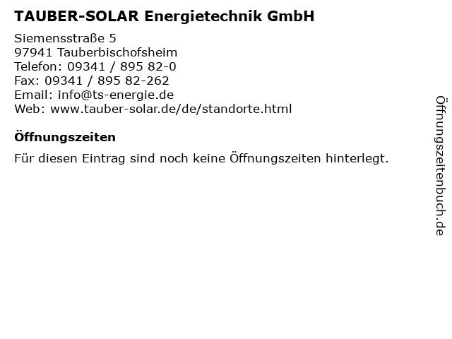 TAUBER-SOLAR Energietechnik GmbH in Tauberbischofsheim: Adresse und Öffnungszeiten