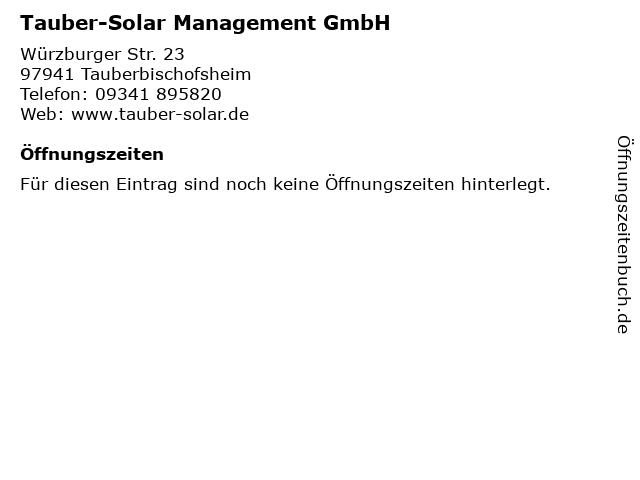 Tauber-Solar Management GmbH in Tauberbischofsheim: Adresse und Öffnungszeiten