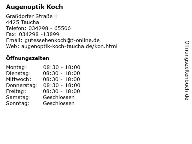 Augenoptik Koch in Taucha: Adresse und Öffnungszeiten