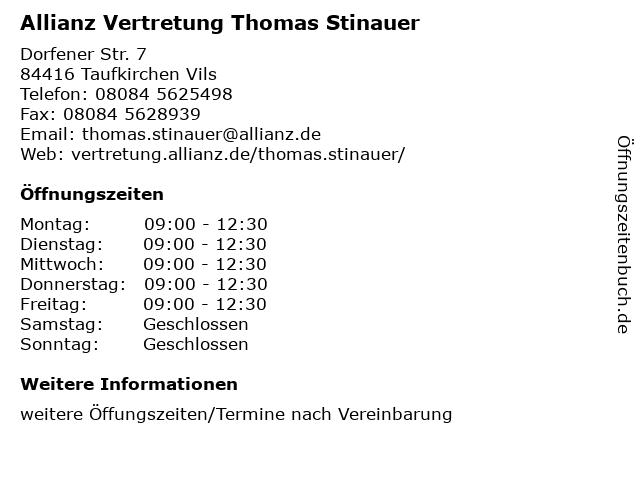 Allianz Vertretung Thomas Stinauer in Taufkirchen Vils: Adresse und Öffnungszeiten