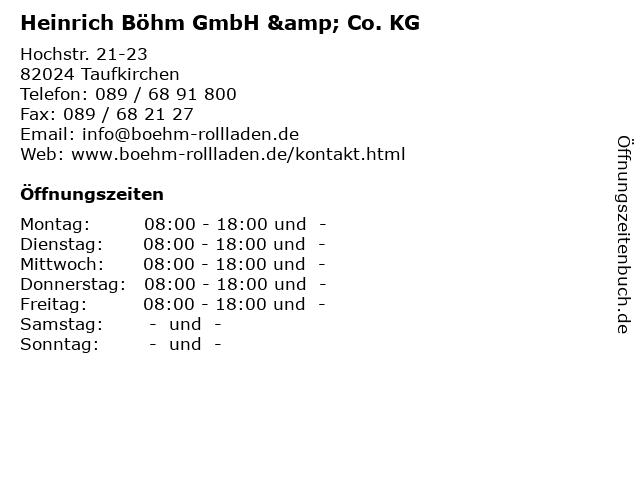 Heinrich Böhm GmbH & Co. KG in Taufkirchen: Adresse und Öffnungszeiten