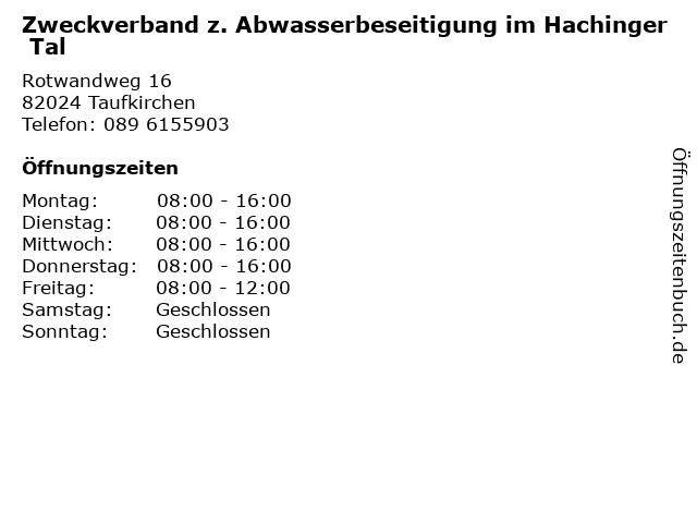 Zweckverband z. Abwasserbeseitigung im Hachinger Tal in Taufkirchen: Adresse und Öffnungszeiten