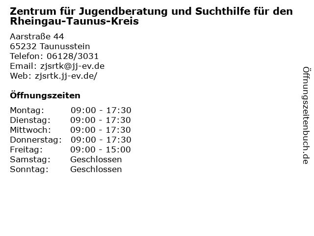 Zentrum für Jugendberatung und Suchthilfe für den Rheingau-Taunus-Kreis in Taunusstein-Hahn: Adresse und Öffnungszeiten