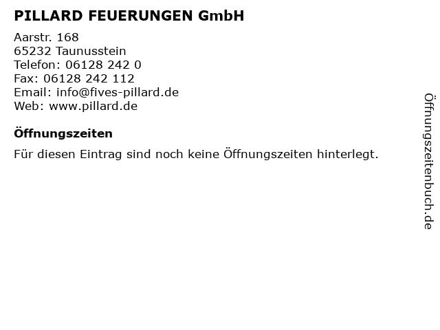 """ᐅ Öffnungszeiten """"PILLARD FEUERUNGEN GmbH""""   Aarstr  168 in Taunusstein"""