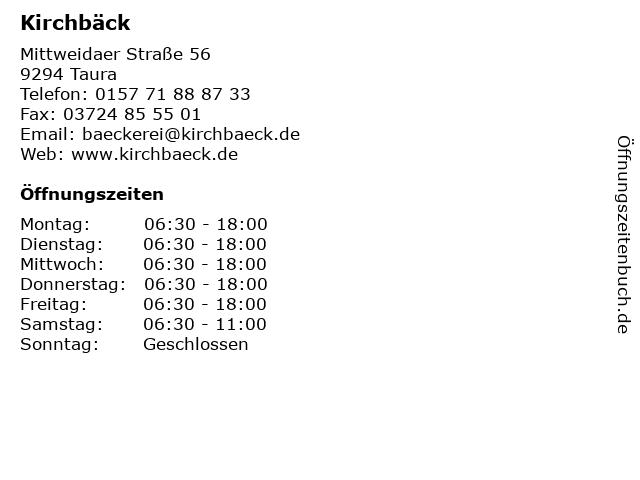 Kirchbäck in Taura: Adresse und Öffnungszeiten