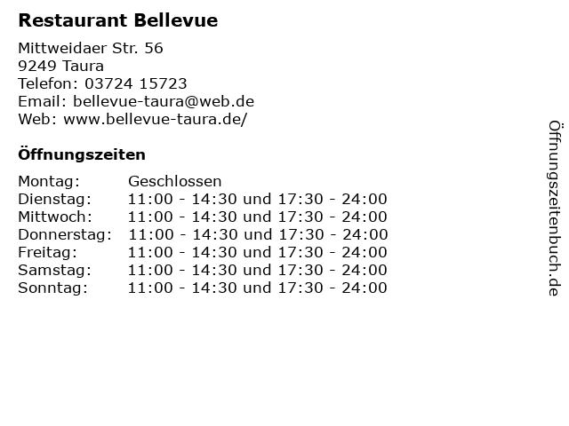 Restaurant Bellevue in Taura: Adresse und Öffnungszeiten