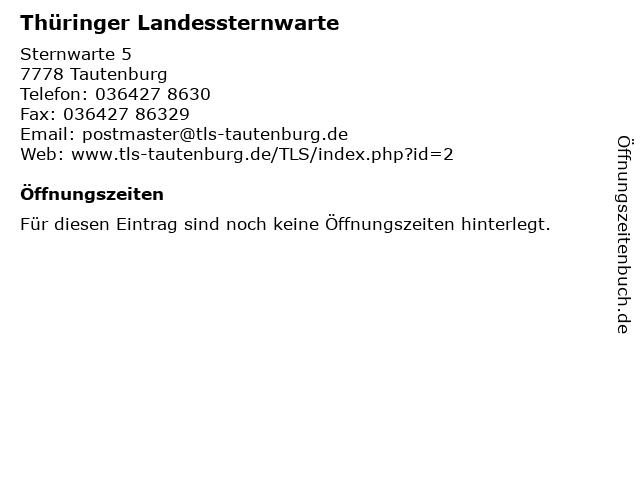 Thüringer Landessternwarte in Tautenburg: Adresse und Öffnungszeiten