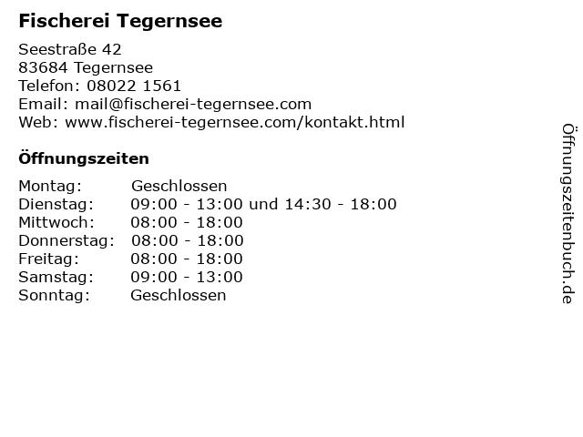 Fischerei Tegernsee in Tegernsee: Adresse und Öffnungszeiten