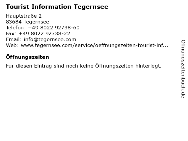 Tourist Information Tegernsee in Tegernsee: Adresse und Öffnungszeiten