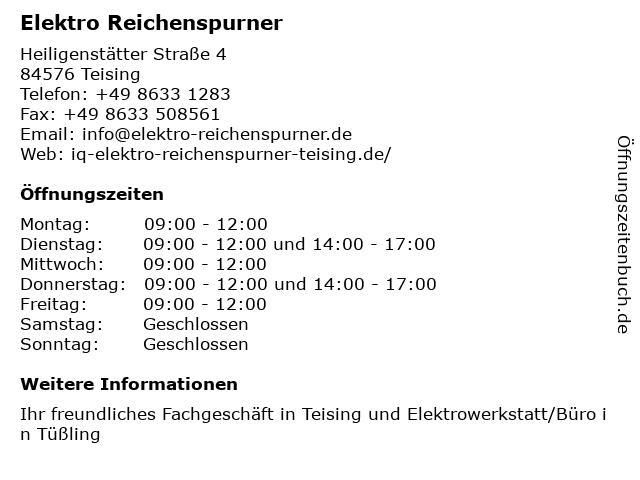 Elektro Reichenspurner in Teising: Adresse und Öffnungszeiten