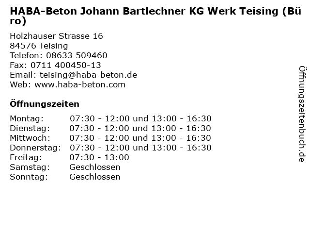 HABA-Beton Johann Bartlechner KG Werk Teising (Büro) in Teising: Adresse und Öffnungszeiten