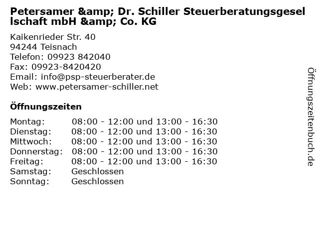 Petersamer & Dr. Schiller Steuerberatungsgesellschaft mbH & Co. KG in Teisnach: Adresse und Öffnungszeiten
