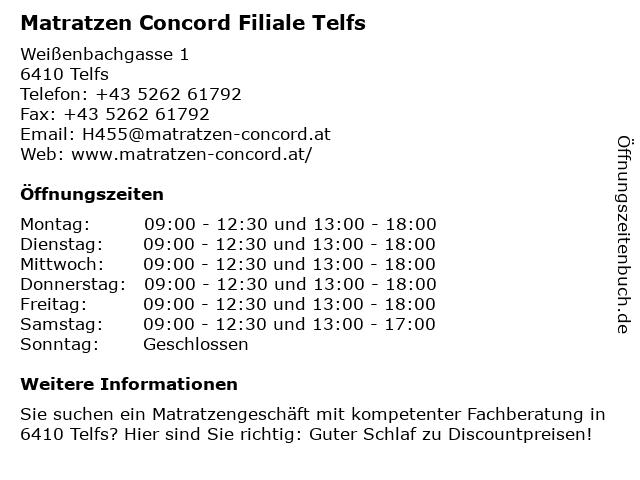 Matratzen Concord GmbH in Telfs: Adresse und Öffnungszeiten