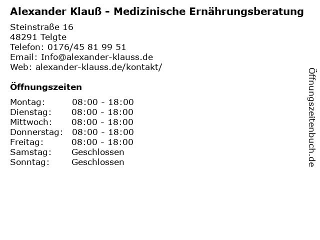 Alexander Klauß - Medizinische Ernährungsberatung in Telgte: Adresse und Öffnungszeiten
