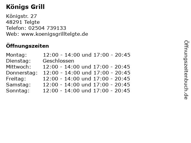 Königs Grill in Telgte: Adresse und Öffnungszeiten