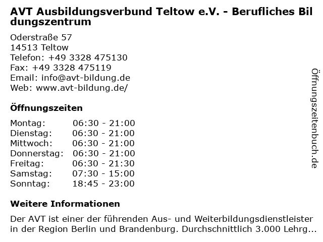 AVT Ausbildungsverbund Teltow e.V. - Berufliches Bildungszentrum in Teltow: Adresse und Öffnungszeiten