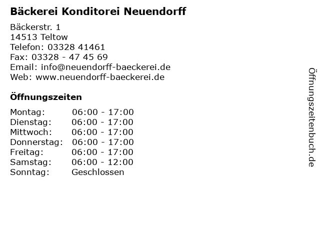 Bäckerei Konditorei Neuendorff in Teltow: Adresse und Öffnungszeiten