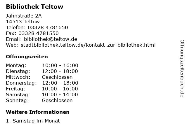 Bibliothek Teltow in Teltow: Adresse und Öffnungszeiten